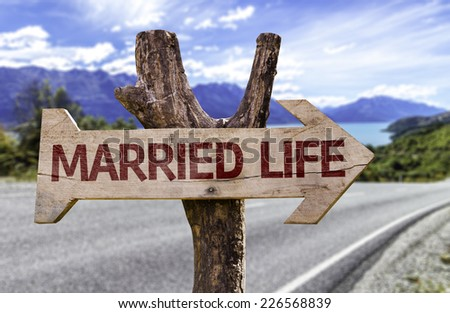 Married Life wooden sign with a road background - stock photo