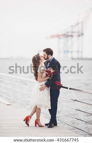 Married wedding couple standing on a wharf over the sea