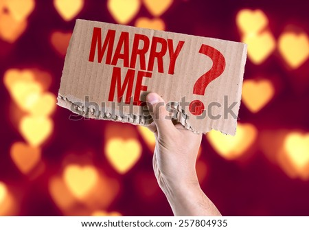 Marry Me? card with heart bokeh background - stock photo
