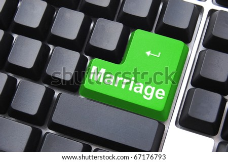 marry your internet date concept with computer button