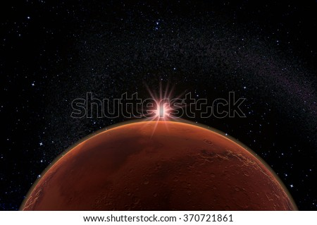 Mars and Sun - 3d render - elements of this image furnished by NASA.