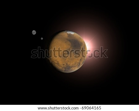 Mars and Sun. 3D space rendering - stock photo