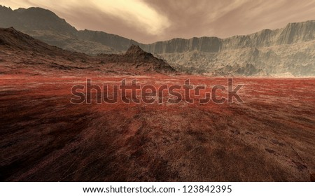 Mars dust-storm breaking over the mesa - stock photo