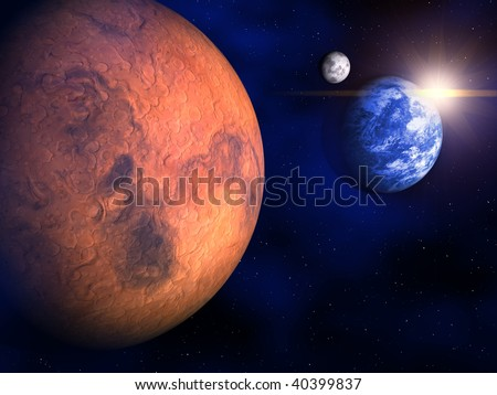 Mars, Earth and the Moon in space - 3d render - stock photo