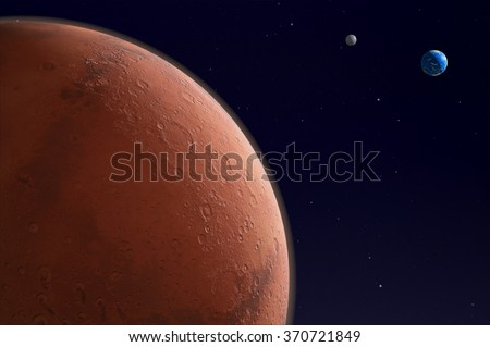 Mars, Earth and the Moon in space - 3d render - elements of this image furnished by NASA. - stock photo