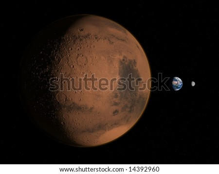 mars, earth, moon - stock photo