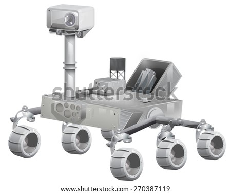 mars exploration rover, This is a mars exploration rover with six wheels and a nuclear generator situated on its back. - stock photo