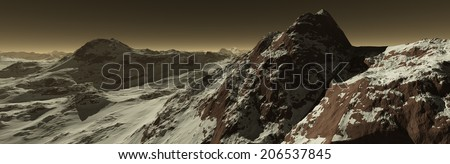 Mars frozen atmosphere coating iron-rich regolith - stock photo
