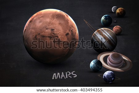 Mars - High resolution images presents planets of the solar system on chalkboard. This image elements furnished by NASA - stock photo