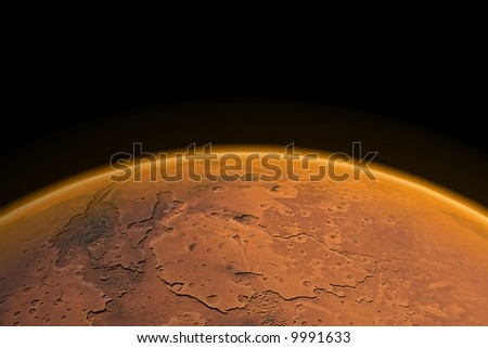 Mars horizon with Mars channels and visible Mars atmosphere. Render. - stock photo
