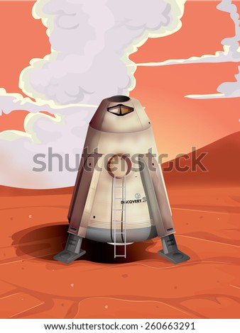 Mars Lander, this is Mars exploration lander discovery sitting on the planets surface. - stock photo