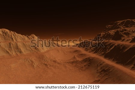 Mars landscape - stock photo