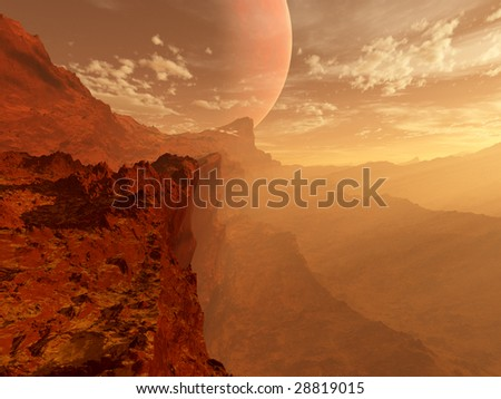 Mars landscape with giant moon and sunset (3D render) - stock photo
