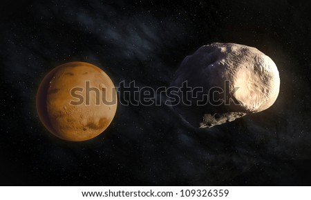 Mars' larger moon Phobos with visible Stickney crater - stock photo
