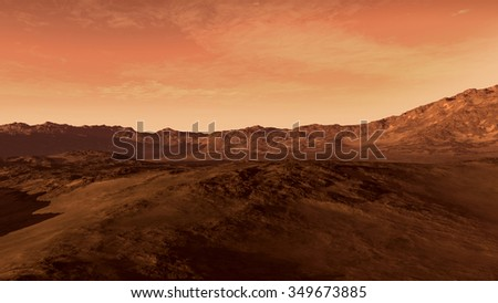 Mars like red planet, with arid landscape, rocky hills and mountains, for space exploration and science fiction backgrounds. - stock photo