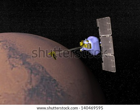 Mars odyssesy spacecraft next to Mars planet to study it in the space - Elements of this image furnished by NASA - stock photo