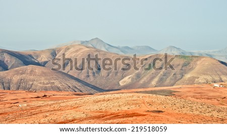 Mars or Moon like landscape of Fuerteventura. Canary islands - stock photo