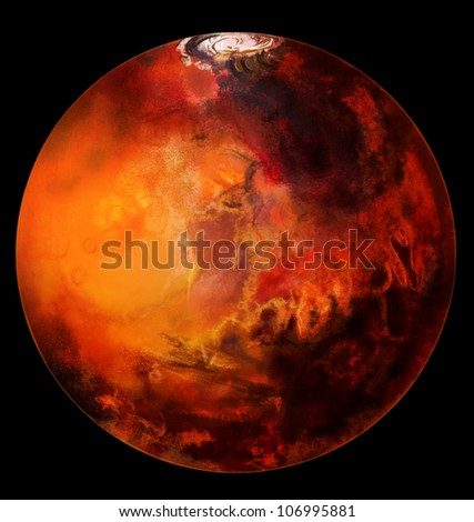 Mars planet beyond our solar system. Isolated on black. Computer graphics - stock photo