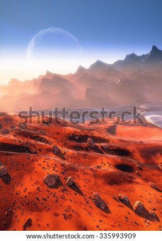 Mars planet, dry Martian landscape, Phobos moon over the mountains. Fog, dust and rocks