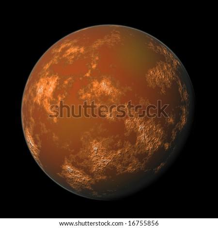 Mars planet illustration over black - stock photo