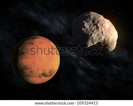 Mars' smaller moon Deimos with the planet visible in the background - stock photo