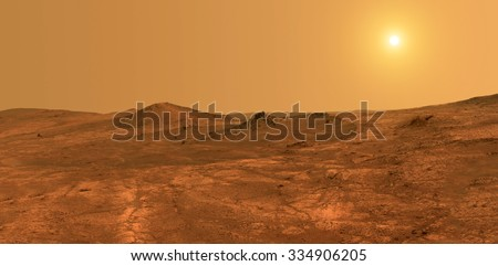 Mars surface with sun in background - Elements of this image furnished by NASA - stock photo