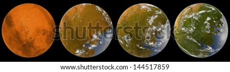 Mars Terraforming, Elements of this image furnished by NASA - stock photo