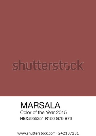 Marsala color sample patch with Hex and RGB recipes, color of the year 2015 - stock photo