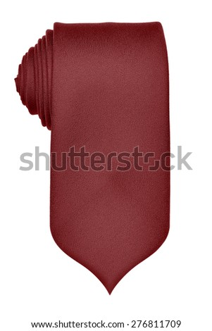 Marsala colored rolled up tie isolated on white - stock photo