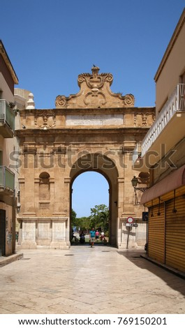 MARSALA, SICILY - JUL 10, 2016: New Gate (Porta Nuova), 18th century