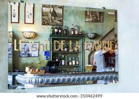 MARSEILLE - AUGUST 19 :Famous bar de la Marine cafe on August 19 2015 in Marseille,France.Marseille is France's largest city on the Mediterranean coast and largest commercial port. - stock photo