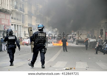 Marseille, France - April 28, 2016 : French riot police during a protest against labor law - stock photo