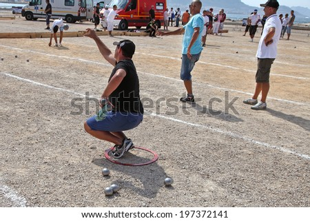 Marseille. France - August 20. 2012.  Sports & Recreation. Petanque competitions. France. Marseille. Mediterranean coast. August 20. 2012 - stock photo