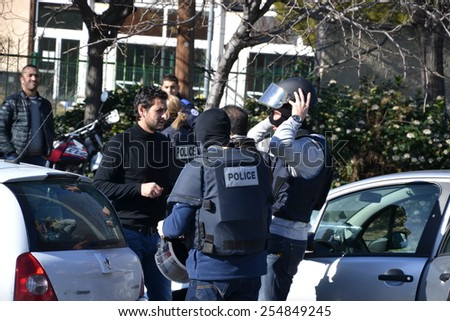 Marseille, France - February 9, 2015 : The Police seal off the district of La Castellane, in Marseille, after kalachnikov shots have been heard, on February 9, 2015.