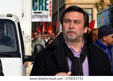 Marseille, France - January 31, 2016 : City councillor of Marseille, Jean-Marc Coppola (Left Front Party), pictured during a demonstration in Marseille