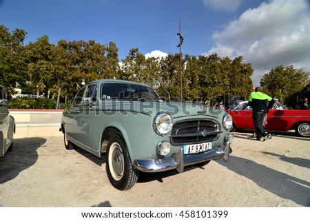 Marseille, France - July 24, 2016 : French old car Peugeot 403 pictured during an old cars exhibition in Marseille - stock photo
