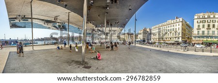 MARSEILLE, FRANCE - JULY 10, 2015: Norman Fosters pavilion with mirrored ceiling.  Marseille is the European Capital of Culture for 2013 and aims to attract 10 million visitors in 2013. - stock photo