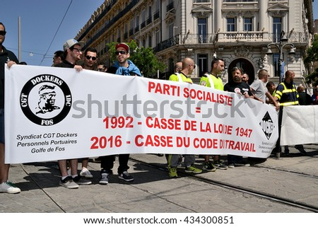 Marseille, France - June 09, 2016: Demonstration against the French government and planned labor law reforms
