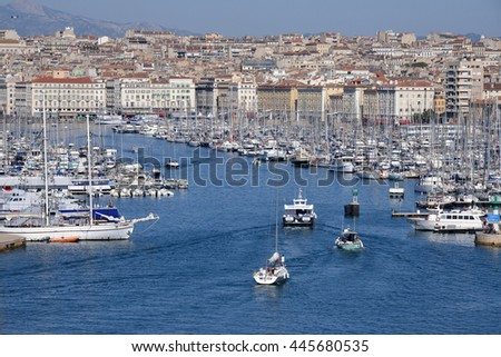 MARSEILLE, FRANCE - JUNE 28, 2016: Maritime traffic in the marina of the city of Marseille in France