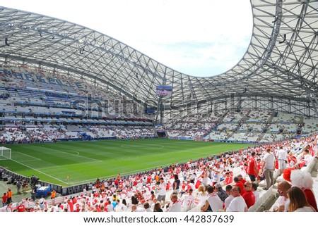 MARSEILLE, FRANCE - JUNE 21, 2016: Tribunes of Stade Velodrome before the UEFA EURO 2016 game Ukraine v Poland - stock photo