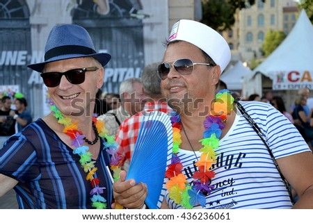 Marseille, France - June 13, 2016 : Two guys pictured during the Gay Pride - stock photo
