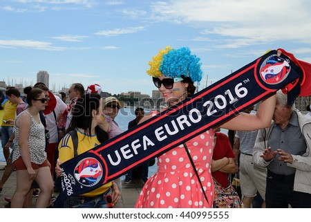 Marseille, France - June 21, 2016 : Ukrainians supporters pictured in Marseille during the 2016 UEFA European Championship in France