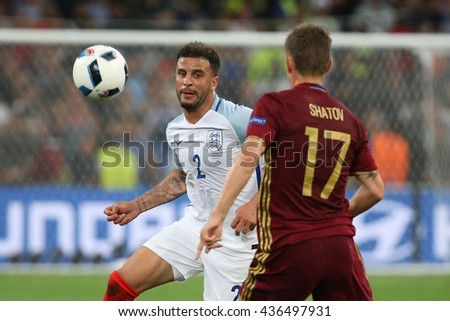 MARSEILLE- FRANCE, JUNE 2016 : Walker in action  during football match  of Euro 2016  in France between England vs Russia at the Stade Velodrome   on June 11, 2016 in Marseille.