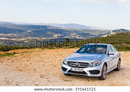 Marseille, France March 6, 2014 : Mercedes-Benz C-Class 2014 2015 Model test drive on March 6 2014 in Marseille, France. - stock photo