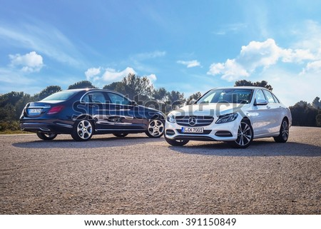 MARSEILLE, FRANCE - MARCH 6, 2014: Mercedes-Benz C-Class 2014-2015 model (W205) at test-drive on March 6 in Marseille, France. It is the first car to use all-new Modular Rear-wheel drive Architecture.