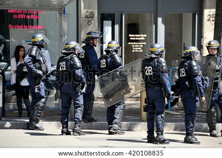 Marseille, France - May 12, 2016 : French policemen, CRS, pictured during a demonstration against the French government and planned labor law reforms