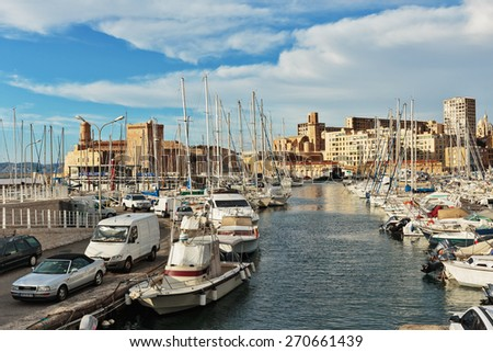 MARSEILLE, FRANCE - NOVEMBER 5, 2014: Old Port, Vieux-Port of Marseille. - stock photo