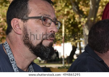 Marseille, France - October 06, 2016 : Belgian cartoonist Jacques Sondron at the 5th edition of the International festival of press and political cartoons at l'Estaque.