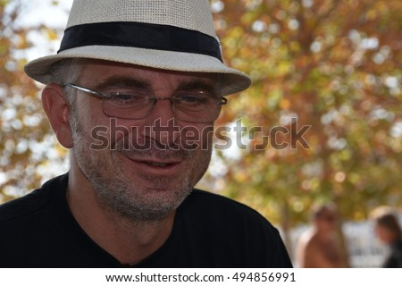 Marseille, France - October 06, 2016 : French cartoonist Fred Lardon at the 5th edition of the International festival of press and political cartoons at l'Estaque.