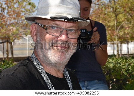 Marseille, France - October 06, 2016 : French cartoonist Veesse at the 5th edition of the International festival of press and political cartoons at l'Estaque.